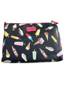 Stella & Max Ice Cream Novelty Theme Black Large Zip-Top Cosmetic Bag