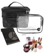 JAVOedge Quilted Double Layer ZipperTravel Storage Cosmetic, Makeup Organiser Bag W/Bonus Clear Transparent Zipper Bag