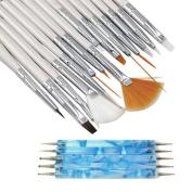 Nail Art Set , Fheaven 20PCS Nail Art Design Dotting Painting Drawing Polish Brush Pen Tools