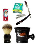 Classic Samurai Men's Shaving Set with Stainless Steel Professional Barber Straight Razor Shavette with 100 Derby Single Razor Blades, Synthetic Shaving Brush, Arko Stick Soap and Porcelain Mug