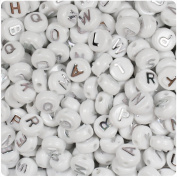 BEADTIN White Opaque w/Silver Letters 10mm Disc Coin Alphabet Beads