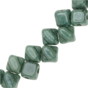 Czech Glass Mini 2-Hole Silky Beads, 5mm Diamond Shape, 40 Pieces, Green Lustre
