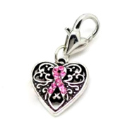 Pink Ribbon Awareness Breast Cancer Clip On Charms with Heart Lobster Clasp Lot of 5