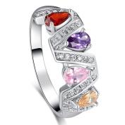 Narica Womens Brilliant Fashion 3mmx5mm Pear Cut Multi-Colour CZ Engagement Ring