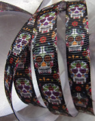 Grosgrain Ribbon -Sugar Skulls Print -- 1cm Wide - 5 Yards