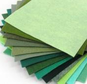 15 Greens 23cm x 30cm Merino Wool Blend Felt Sheets Collection - OTR felt