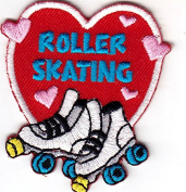 """""""ROLLER SKATING"""" HEART - IRON ON EMBROIDERED PATCH - Skates, Sports, Words"""