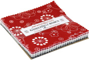 KimberBell Basics Black White & Red Charm Pack 42 13cm Squares Maywood Studio