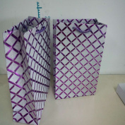 Set of 3 Assorted Colour Diamond Pattern Glitter Gift Wrap Medium Bags in Black, Silver, Purple