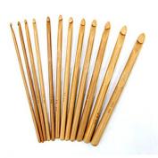 12 Sizes Natural Wood Bamboo Crochet Hooks Size 3mm-10mm