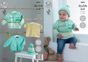 King Cole Baby Double Knitting Pattern Easy Knit Raglan Sleeve Jacket Sweater Cardigan & Hat