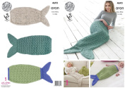 King Cole Aran Knitting Pattern - to knit Ladies Kids & Babies Mermaid Tail Blankets