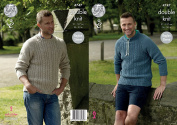 King Cole Mens Double Knitting Pattern Raglan Sleeve Round or Stand Up Neck Sweaters