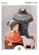 Chunky Knitting Pattern for Ladies Cowl & Fairisle Design Neck Warmer & Hat