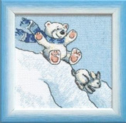 Embroidery Counted cross stitch kit Charivna mit #A-077 From the hill Bear rabbit 15x15 cm / 5.91x5.91 in