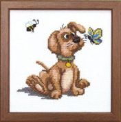 Embroidery Counted cross stitch kit Charivna mit #A-071 Puppy Animals Butterfly 15x15 cm / 5.91x5.91 in