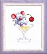 Embroidery Counted cross stitch kit Charivna mit #А-054 Mouse in coctail 15x18 cm / 5.91x7.09 in