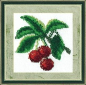 Embroidery Beadwork kit Charivna mit #B-033 Ripe Red Cherries Delicious 11x11 cm / 4.33x4.33 in