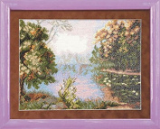 Embroidery Semi-cross stitch kit Charivna mit #А-132 Lake Flowers Summer 20x27 cm / 7.87x10.63 in