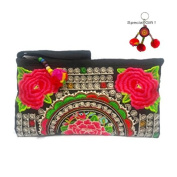 Clutch Wallet Purse Embroidered Flower Wristlet Cosmetic Bag Handbag
