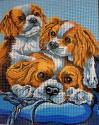 "Needlepoint Kit ""Dogs"" 7.9""x9.8"" 20x25cm printed canvas cod.435"