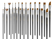 Paint Brush (Set of 24) - Premium Nylon Brushes for Watercolour, Acrylic & Oil Painting | Perfect For Painting Canvas, Ceramic, Clay, Wood & Models -Great For Beginners, Students & Professional Artist