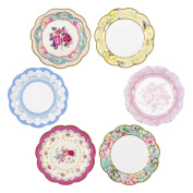 "Talking Tables TS6-VINTAGE-PLATE 20cm 6 Designs Small ""Vintage"" Plate (12 Pack), Multicolor"