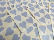 22x20mm Grey Heart Shaped Labels, 90 Self-Adhesive Colour Code Stickers, Sticky Hearts for Craft and Decoration