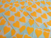 22x20mm Fluorescent Bright Orange Tangerine Heart Shaped Labels, 90 Self-Adhesive Colour Code Stickers, Sticky Hearts for Craft and Decoration