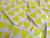 22x20mm Yellow Heart Shaped Labels, 90 Self-Adhesive Colour Code Stickers, Sticky Hearts for Craft and Decoration