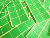 26mm (1 Inch) Square Mid Green Colour Code Stickers, 96 Self-Adhesive Sticky Coloured Square Labels