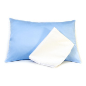 Maddie Moo Toddler Pillow Case, 18x13, Baby Blue / White, Sateen, Set of 2