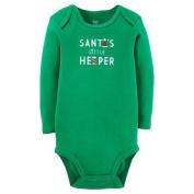 Santa's Little Helper Long Sleeve Bodysuit 3 Months Green Santa Hat Stocking