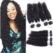 Guangxun Hair Brazilian Curly Wave Virgin Hair 4 Bundles Mix Length, Remy Brazilian Sexy Deep Curly Weave Human Hair Extensions Natural Colour