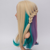 Netgo Pastel Rainbow Wig Long Wavy Colourful Lolita Style Wigs for Women