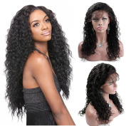 Natural Curly 100% Brazilian Virgin Hair Natural Colour Full Lace Wig 130% Density with Baby Hair