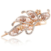 Beautiful Bead Fashion Rhinestones Faux Pearl Hairpin Duckbill Clip Head Wear Accessories Gold