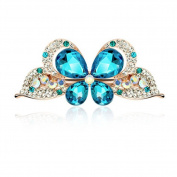 Beautiful Bead Fashion Crystal Rhinestones Butterfly Hair Clips Barrette Hair Beauty Tools Blue