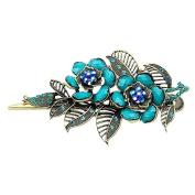 Beautiful Bead Rose Hair Beak Clip Vintage Jewellery Alloy Hairpin Hair Beauty Tools Blue