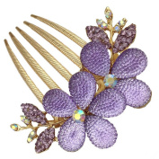 Dealzip Inc Beautiful Jewellery Crystal Rhinestone Purple Flowers Hairpins Hair Clips Hair Beauty Tools