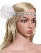 BABEYOND Women's Crystal Headpiece Great Gatsby Silver Headbands for Women Flapper Accessories with Ostrich Feather Free Size