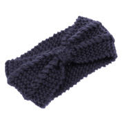 Eforstore Wool Knitted Crochet Bow Winter Headband Ear Warmer Women Lady Girl Hat Headgear Crochet Headband Head Wrap Hairband