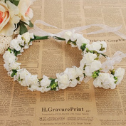 Meiliy Bridal Flower Garland Crown Flower Headband Hair Wreath Halo with Flower Wrist Corsage for Wedding Festivals
