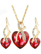 Gift! Gold Plated Jewellery Sets For Women Crystal Heart Necklace Earrings Jewellery Set Bridal Wedding Accessories