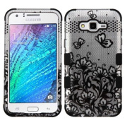 MyBat Cell Phone Case for Samsung Galaxy J7 - Black Lace Flowers