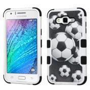 MyBat TUFF Hybrid Cover for SAMSUNG Galaxy J7 (2015) - Soccer Ball Collage/Black