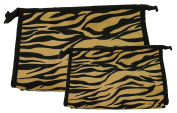 Set of 2 Matching Zebra Travel Cosmetic Bag - Makeup Bag - Toiletry Bag - Lightweight - Gold Colour
