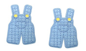 2 pieces BLUE OVERALLS Iron On Patch Clothing Applique Children Motif Fabric Decal 2.2 x 1.5 inches
