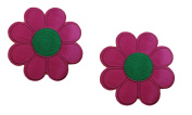 2 pieces PINK FLOWER Iron On Patch Fabric Applique Motif Children Decal 3 x 3 inches