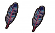 2 small pieces FEATHER Iron On Patch Applique Motif Spiritual Symbol Sign Decal 2.7 x 1 inches